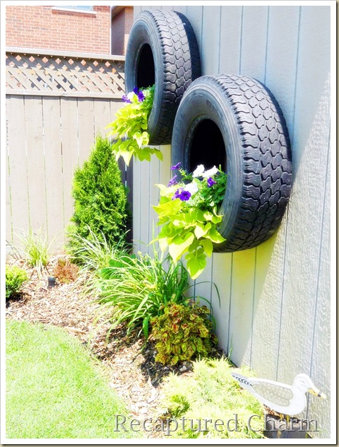 shed tires with flowers 012a