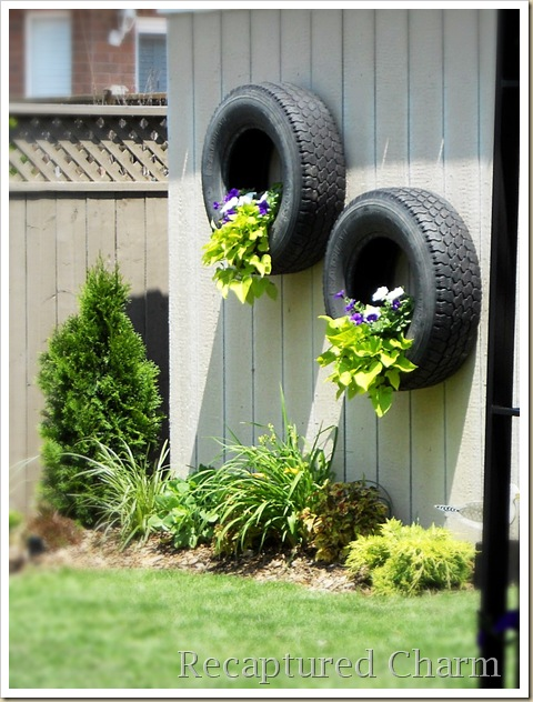 shed tires with flowers 036a
