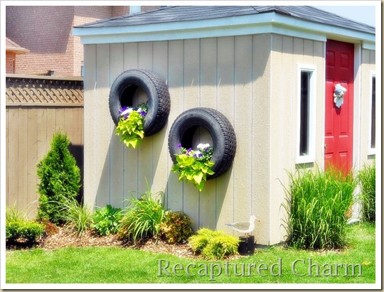 shed tires with flowers 039a