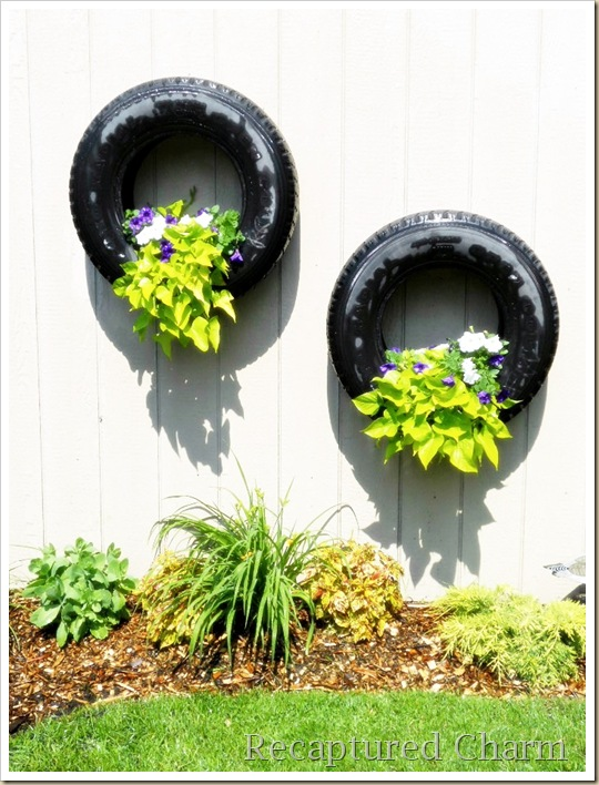 shed tires with flowers 043a