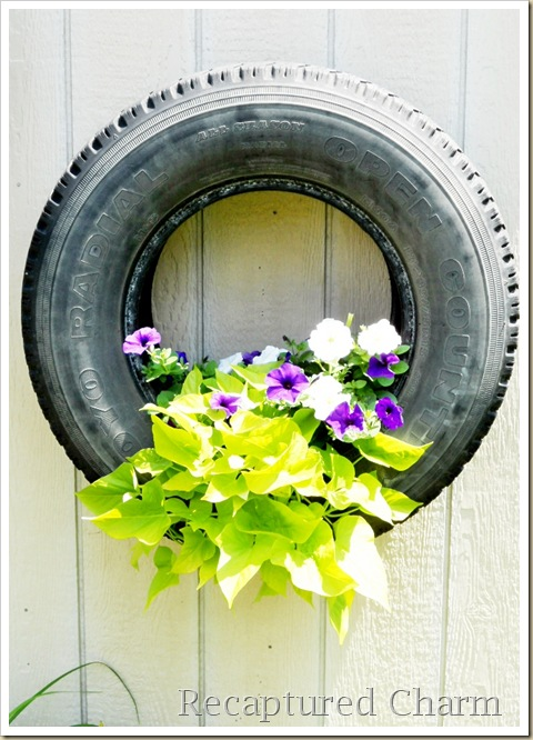 shed tires with flowers 017a
