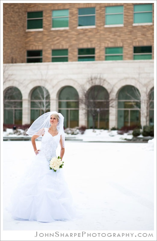 Winter bridal photography on BYU campus