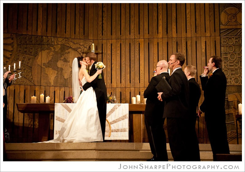 Minneapolis  Wedding Photographer at Trinity Lutheran Church First Kiss