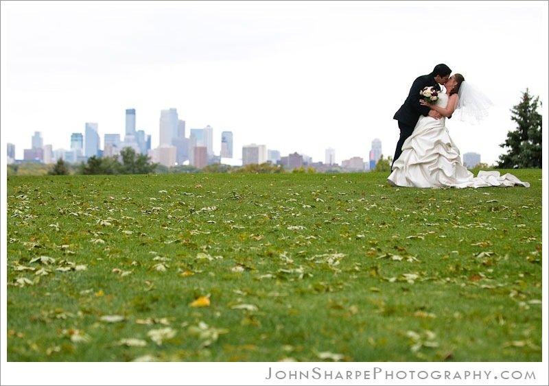 Minneapolis Skyline Wedding Photo