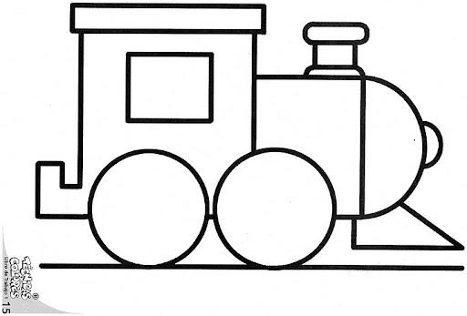Tren con figuras geometricas para colorear - Imagui