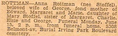 STOFFEL, Anna E STOFFEL Obituary