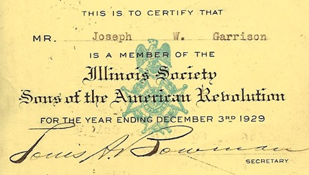 GARRISON, Joseph Webster GARRISON Sons of the American Revolution Card