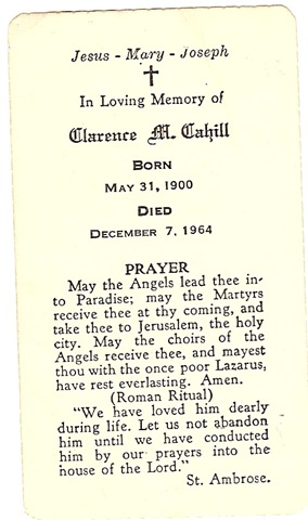 CAHILL, Clarence M CAHILL Memorial Card