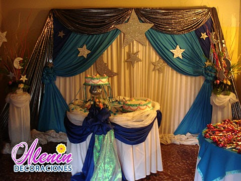 15 a os decoraci n 15 a os lunas estrellas tonos azules for Decoracion quince anos