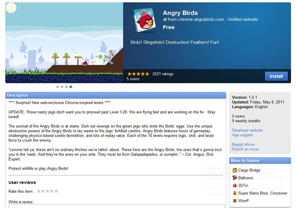 Angry Birds Arrives In Chrome Web Store