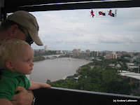 Ben and Andrew in The Wheel of Brisbane at Southbank Parklands Brisbane.