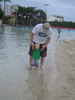 Ben and Andrew enjoying the 'beach' at Southbank Parklands Brisbane.