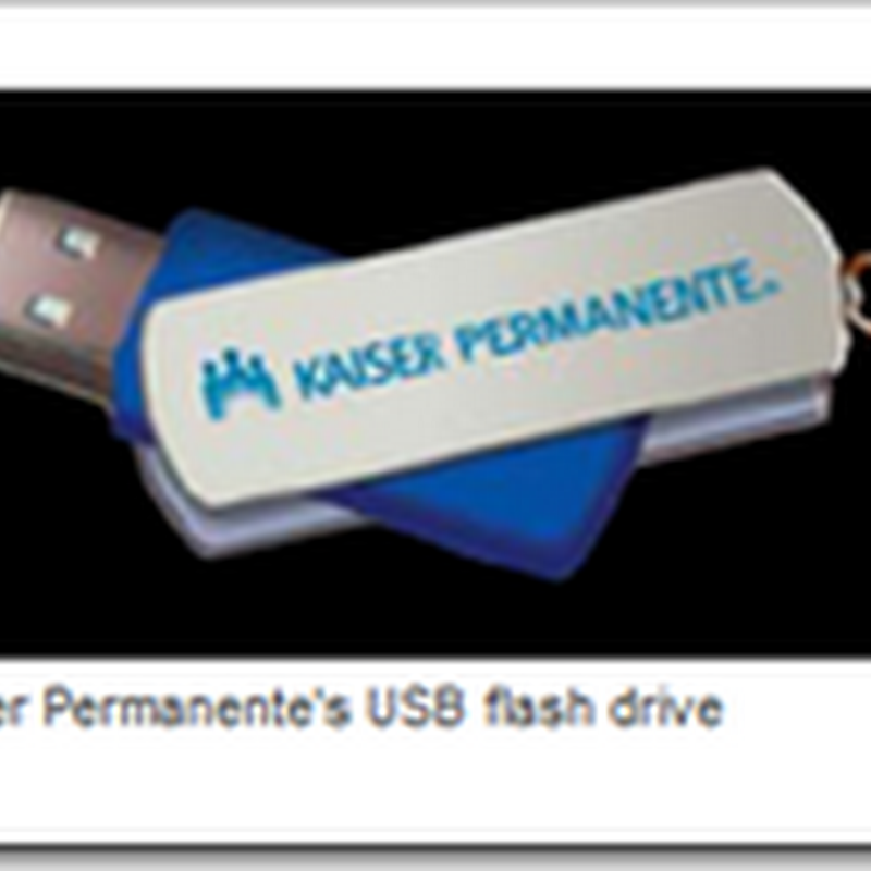 Kaiser Permanente offers Abbreviated Personal Health Records on a Read Only USB drive for $5.00