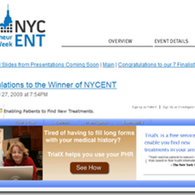 Tweeting for Trials – TrialX Wins New York Entrepreneur Week Venture Competition Award
