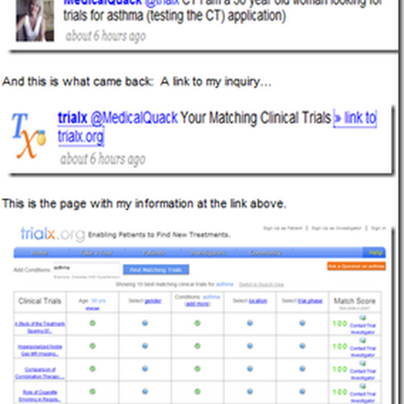 Clinical Trials Widget on the Medical Quack – Find Trials on Twitter Too