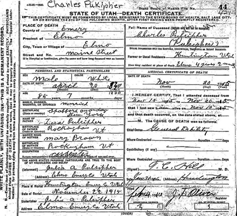 Death Certificate of Charles Pulsipher Sr