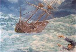 Painting Depicting John Howland Overboard