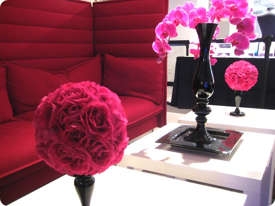 fuschia rose carnation ball orchids