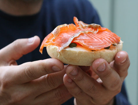 They're introduced to her dad through his homemade bagels and lox, ...