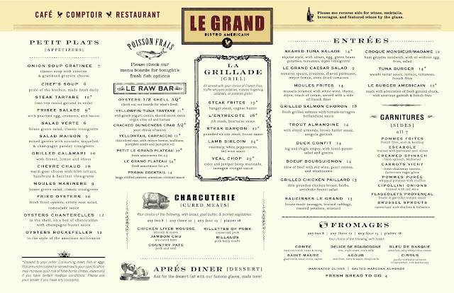 French Bistro Food Menu Of retro-french city food,