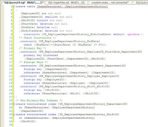 Code Window created from the XML Window