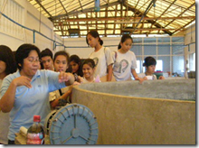 AQD Associate Researcher Ms. Antonietta Evangelista (leftmost) briefs students on BFS' activities at the bighead carp hatchery