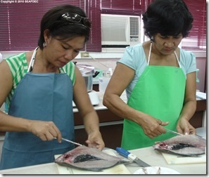 Clockwise: Participants try their hand at deboning, marinating, and smoking bangus; bangus packaged and ready to be sold