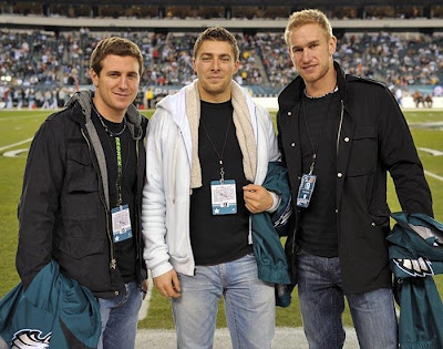 Even hockey players watch football to pass the time. Sadly, you wont be seeing this trio of hotties at any Eagles games anytime soon.