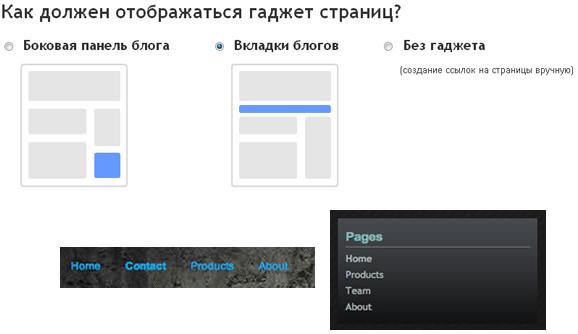 страницы Blogspot
