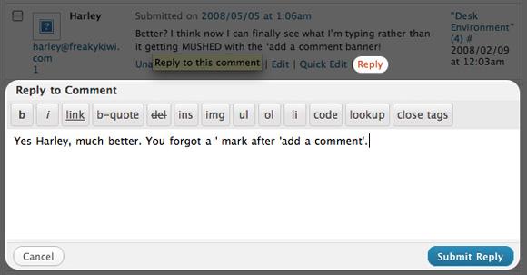 wordpress новая система комментирования - функция ответ
