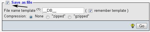 сохранить бэкап базы данных на диск