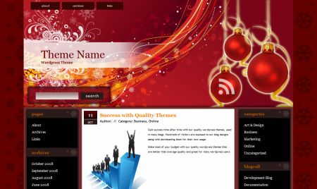 рождество зимние праздники шаблон wordpress