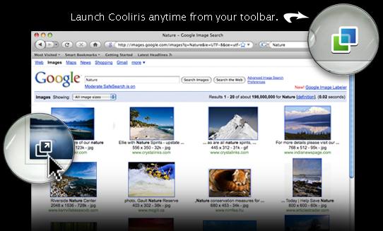 Cooliris - оригинальный интерфейс просмотра фото в браузере.