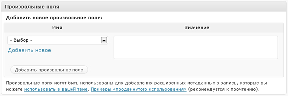 произвольные поля WordPres