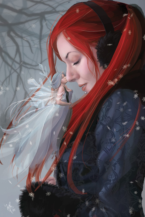 Winter  s Kiss by vixelyn Emotion Paintings