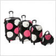Shiny Large Dot 4 Piece 4 Wheeled Set in Black