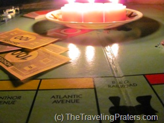 monopoly game by candlelight