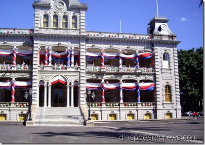 Iolani Palace with festive bunting
