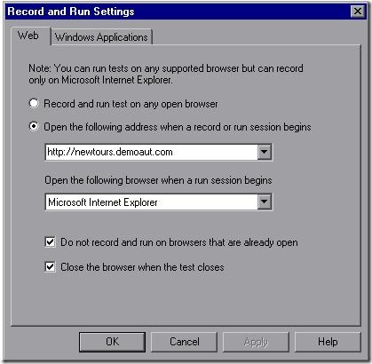Record and run settings