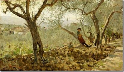 Telemaco Signorini - Fra gli ulivi a Settignano, 1885, olio su tela, cm. 35x63. Collezione privata. Courtesy Piero Dini