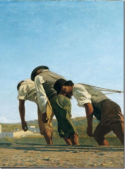 Telemaco Signorini L'alzaia (particolare), 1864 olio su tela, cm. 54x 173,2. Collezione privata, courtesy Jean Luc Baroni Ltd