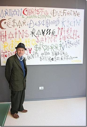 Jacques Villeglé, Les Nouveaux Réalistes, 2009, acrilico su tela, cm.150x220 - foto di Mariangela Maritato