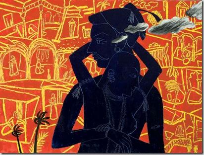 Abbraccio, 2005 olio su tela, 130 x 180 cm