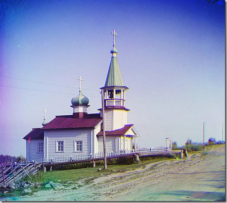 Church in the village of Shaidoma; 1915 Sergei Mikhailovich Prokudin-Gorskii Collection (Library of Congress).