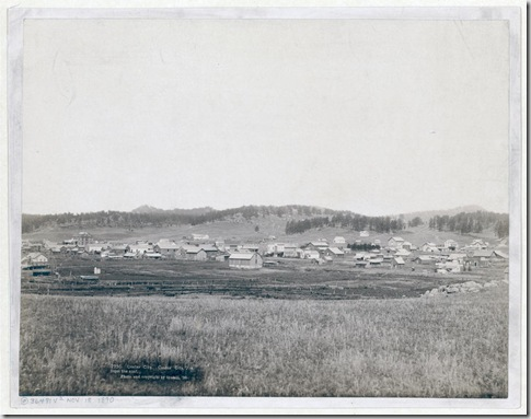 Title: Custer City. Custer City, Dak. from the east Distant view of small town; field in foreground and hills in background. 1890. Repository: Library of Congress Prints and Photographs Division Washington, D.C. 20540