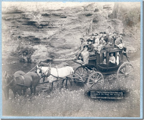 Title: Tallyho Coaching. Sioux City party Coaching at the Great Hot Springs of Dakota Horse-drawn stagecoach carrying by formally dressed women, children, and men. 1889. Repository: Library of Congress Prints and Photographs Division Washington, D.C. 20540