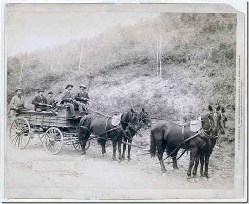 Title: Wells Fargo Express Co. Deadwood Treasure Wagon and Guards with $250,000 gold bullion from the Great Homestake Mine, Deadwood, S.D., 1890 Five men, holding rifles, in a horse-drawn, uncovered wagon on a country road. Repository: Library of Congress Prints and Photographs Division Washington, D.C. 20540