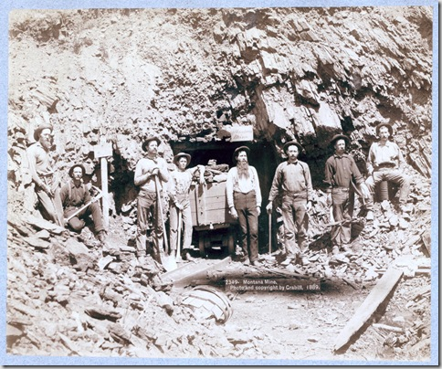 Title: Montana Mine Eight men, holding pick axes and shovels, standing in front of entrance to mine. 1889. Repository: Library of Congress Prints and Photographs Division Washington, D.C. 20540