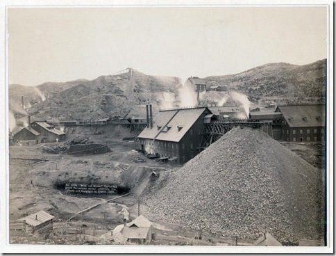 "Title: ""Mills and mines."" Part of the great Homestake works, Lead City, Dak. Bird's-eye view of mining factory, Homestake Works. 1889. Repository: Library of Congress Prints and Photographs Division Washington, D.C. 20540"