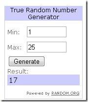 Giveaway Random Winner